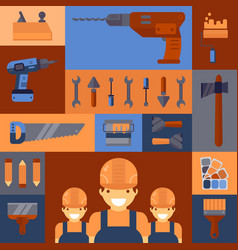 House repair service tools colorful collage with vector