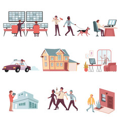 house security flat set vector image