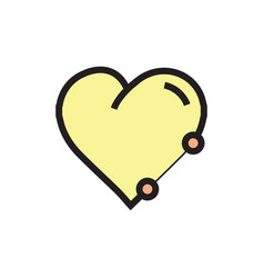 Icon heart pen tool style yellow vector