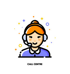 Icon of cute girl wearing headset for call center vector