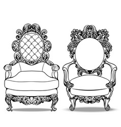 imperial baroque chairs collection with luxurious vector image
