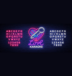 Karaoke love logo in neon style neon sign bright vector