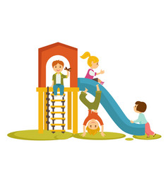 Kids children playing on playground cartoon vector