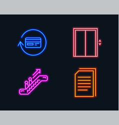 Lift escalator and refund commission icons copy vector