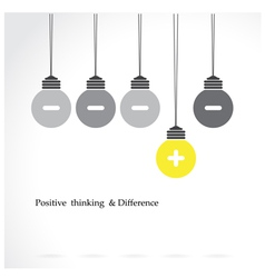 Light bulb with positive thinking vector