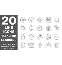machine learning simple concept icons set vector image