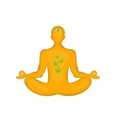 Man in lotus position icon cartoon style vector image