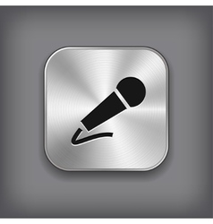 Microphone icon - metal app button vector image