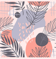 Modern seamless pattern one line art palm leaves vector
