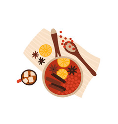 Mulled wine cooking top view vector