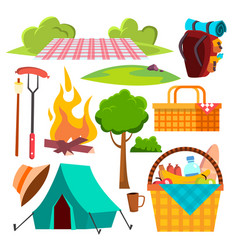picnic items tent campfire sausages vector image