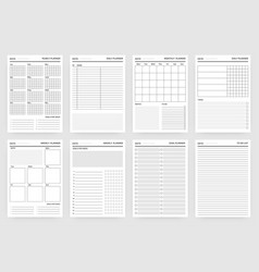 planner pages paper sheets for scheduling vector image