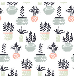 plants in pots pattern vector image