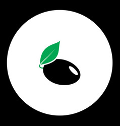 Plum with leaf fruit simple black and green icon vector