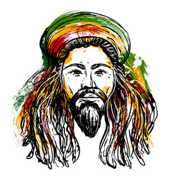Portrait of rastaman jamaica theme vector