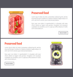Preserved vegetables banners with canned food vector