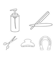 razor lotion brush scissors hairdresser set vector image