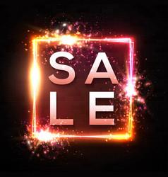 sale banner neon light discount sign on black vector image