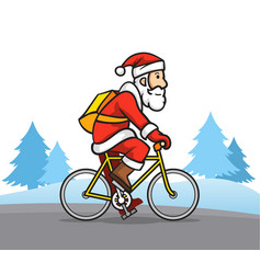 santa claus the bicycle messenger vector image