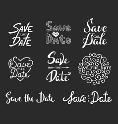 save date calligraphy phrases unique vector image