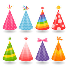 set colorful party hats isolated on white vector image