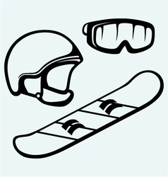 Set equipment for snowboarding vector