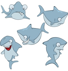 Set of cute sharks for you design Cartoon vector image