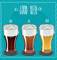 set of different beer in handmade cartoon style vector image