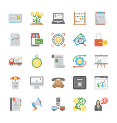 set of startup and new business flat icons vector image