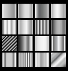 set silver gradients metallic squares vector image