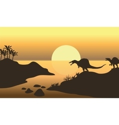 Silhouette of spinosaurus in riverbank vector