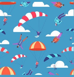 skydivers jumpers in sky seamless pattern vector image