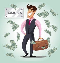 Smiling businessman with a bag of money vector