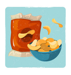 snack vintage card with chips vector image
