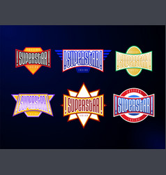 sport emblem typography set super star hero vector image