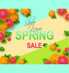 spring sale flyer template with paper cut flowers vector image