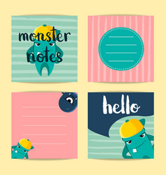 square note cards with cute cartoon vector image