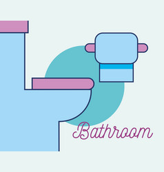 toilet and toilet paper interior bathroom vector image
