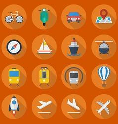 Transportation Flat Icon Set vector