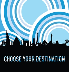 Travel destination silhouette vector