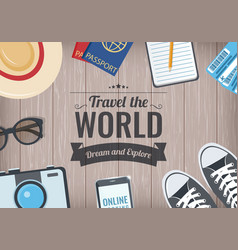 travel world background with items for travel vector image