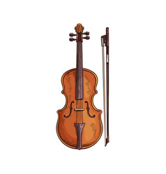 viola with bow isolated italian musical instrument vector image