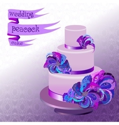 Wedding cake with peacock feathers Violet purple vector