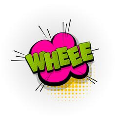 Whee comic book text pop art vector