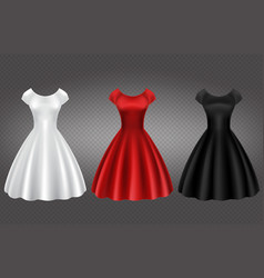 white black and red retro woman cocktail dress vector image