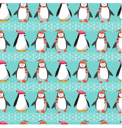 winter holiday pattern with cute penguins vector image