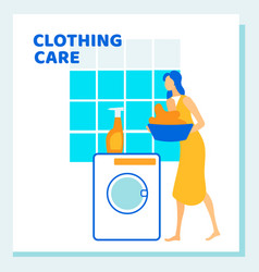 Woman loading dirty to washing machine routine vector