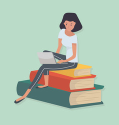 woman sitting stack book knowledge concept vector image