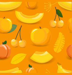 yellow seamless pattern with fruits vector image