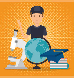 Young man student with education supplies vector